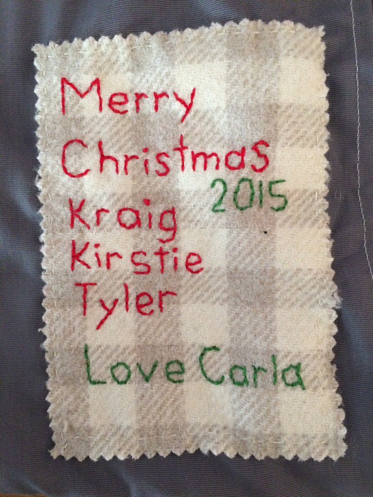 Label on pillow for my brother, sister-in-law & nephew