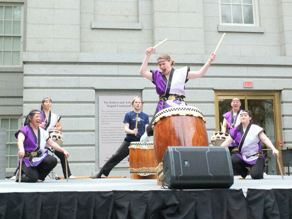 Playing taiko with Nen Daiko - Photo by Bruce Guthrie