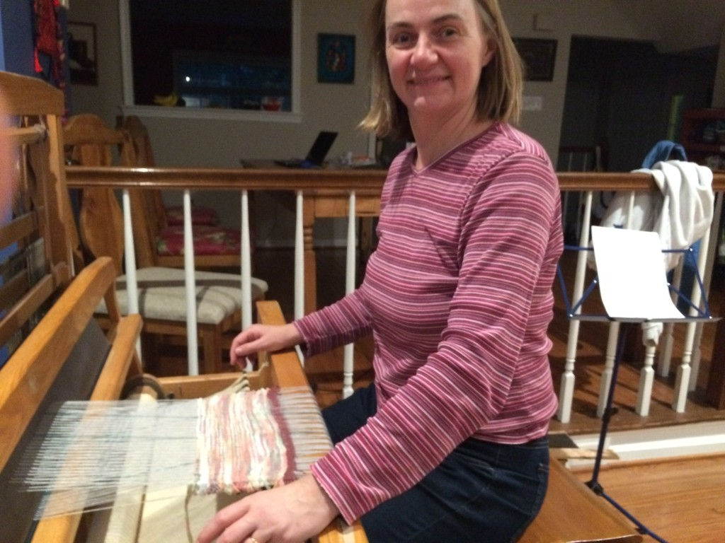 Thrilled to be weaving on my loom for the first time