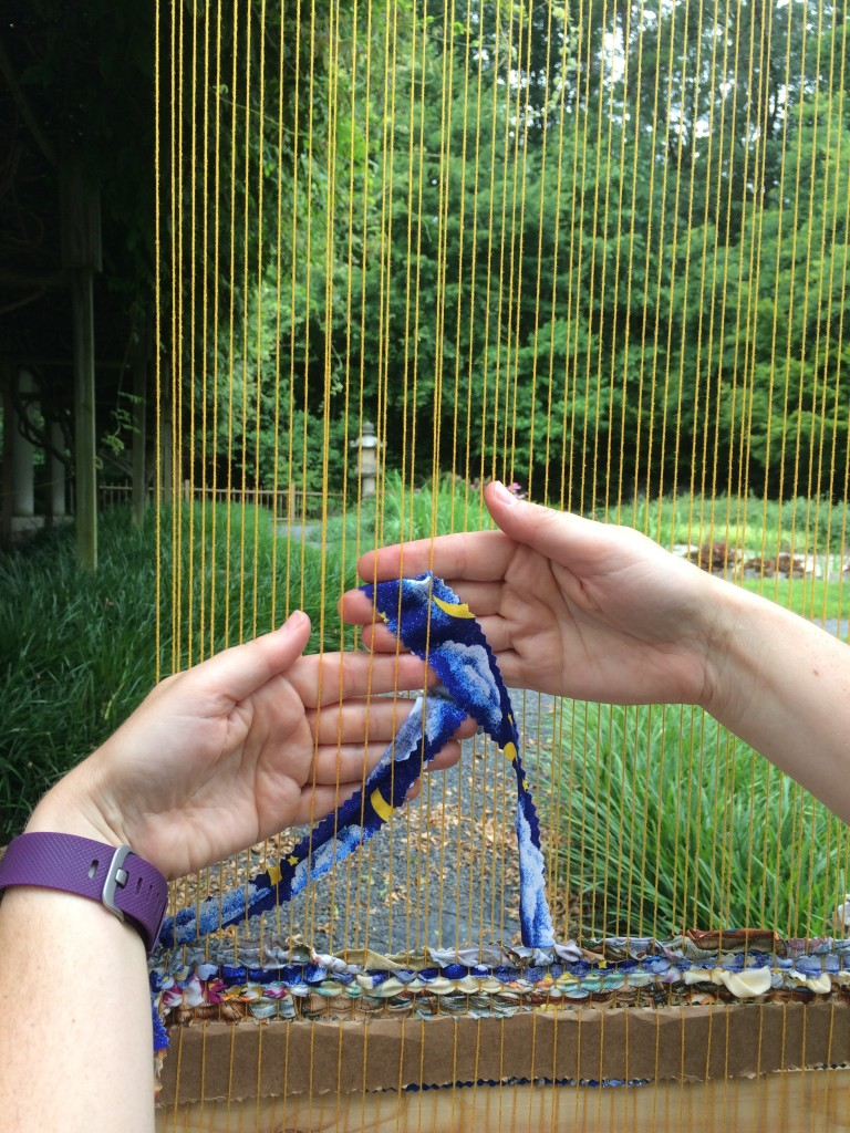 Weaving in the meditation garden