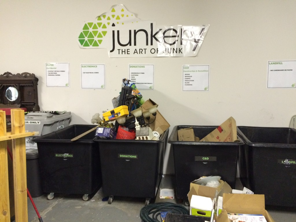 Sorting junk into categories at the Junkery