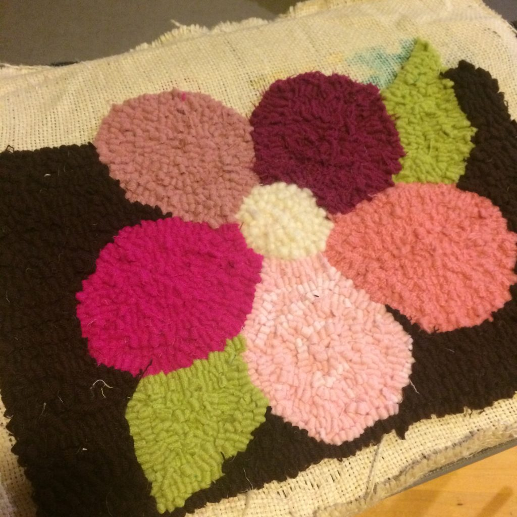 Pink flower rug for Louisa, Summer 2016