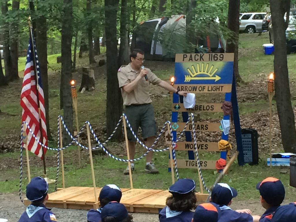 Bob leading his Cub Scout pack