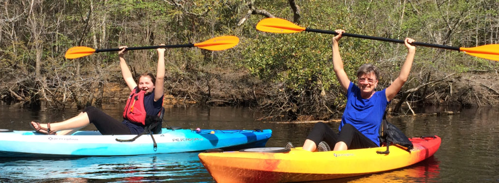 Nora and Nana Kayaking in South Carolina