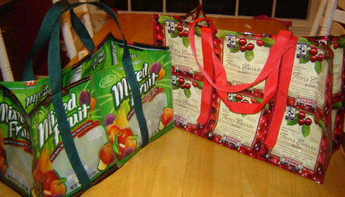 Bags sewn from flexible food packaging