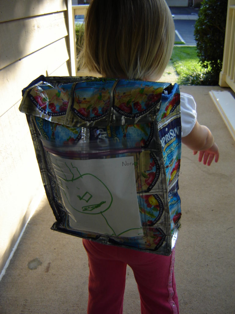 Backpack sewn from juice pouches, 2006