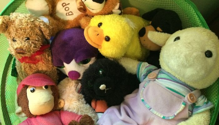 Basket filled with stuffed toys