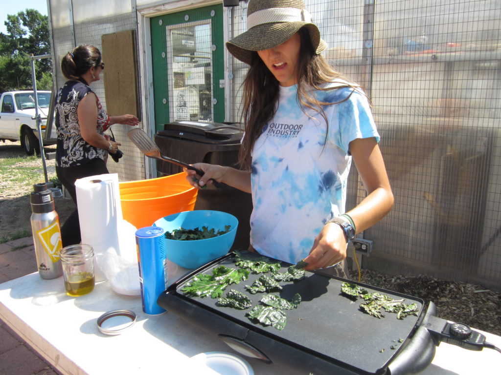 Making kale chips at the Growing Gardens program in Boulder, Colorado, July 2012