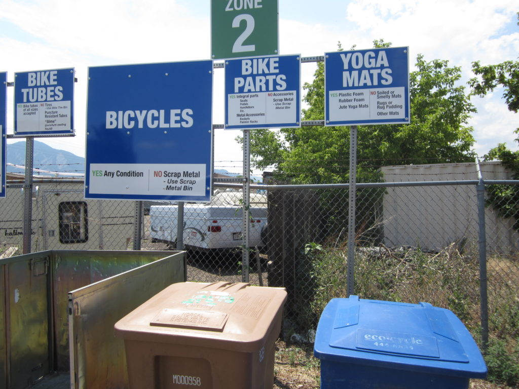 Bicycle part and yoga mat collection at Eco-Cycle Center for Hard to Recycle Materials, July 2012