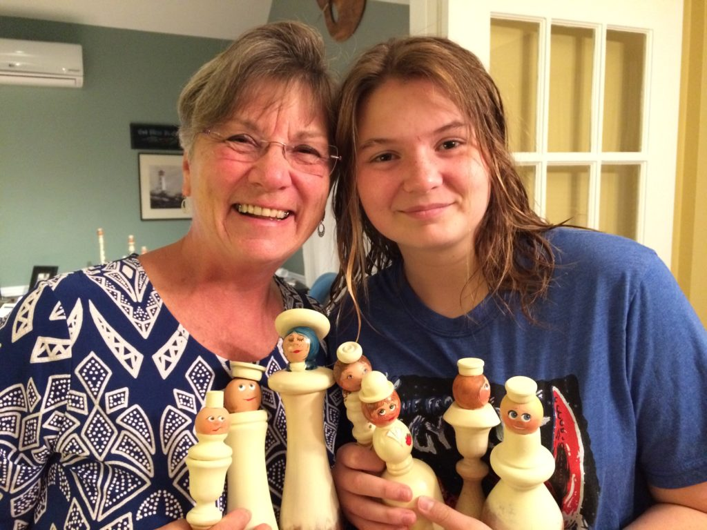 Mom & Nora with their painted angels from spindles