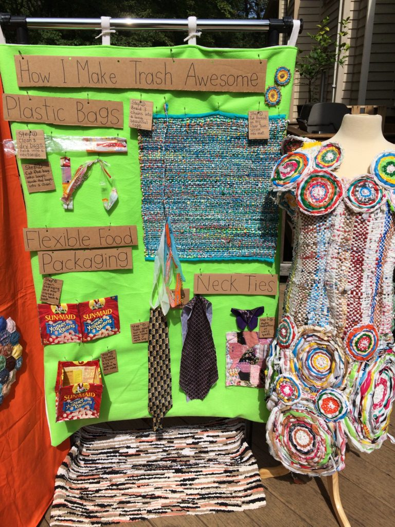Trashmagination's Display - Panel with Plastic Bags, Food Packaging & Neckties