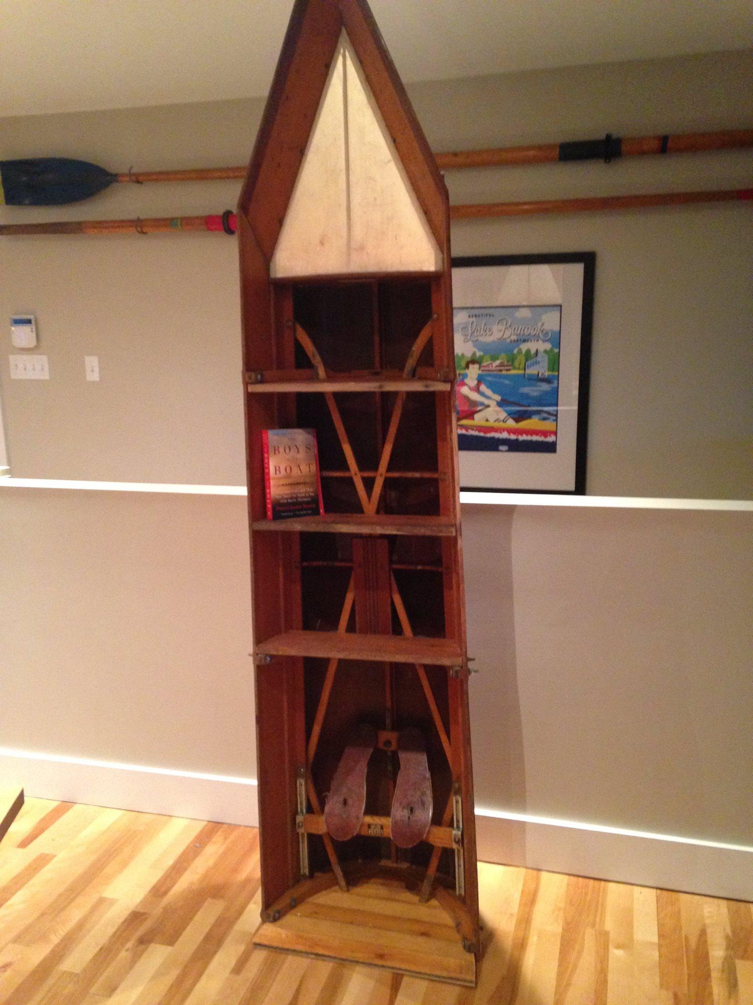 Bookshelf made from broken rowing shell