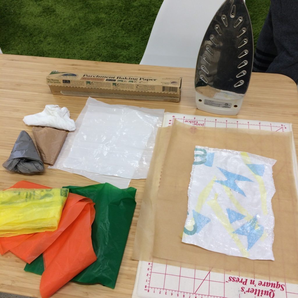 Fusing plastic bags - creative reuse learning station