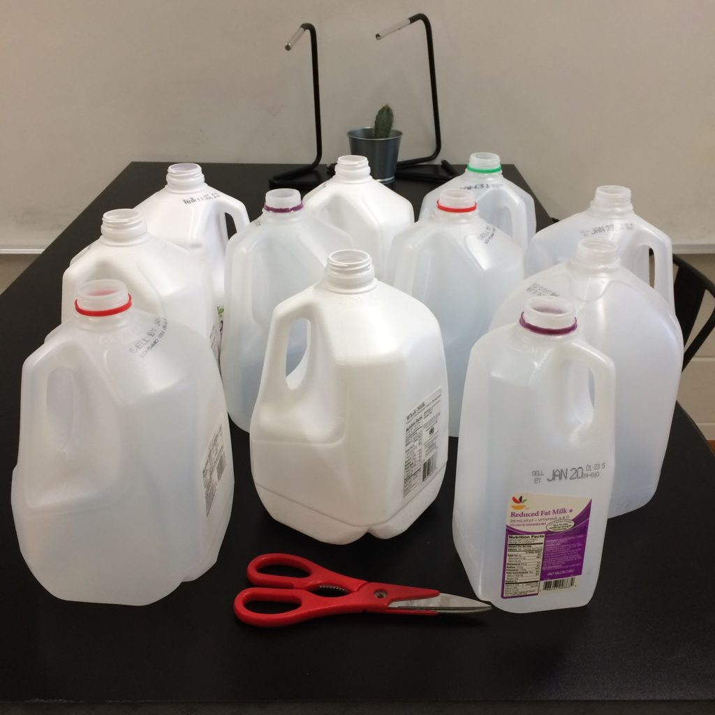 Milk jug prep - creative reuse learning station