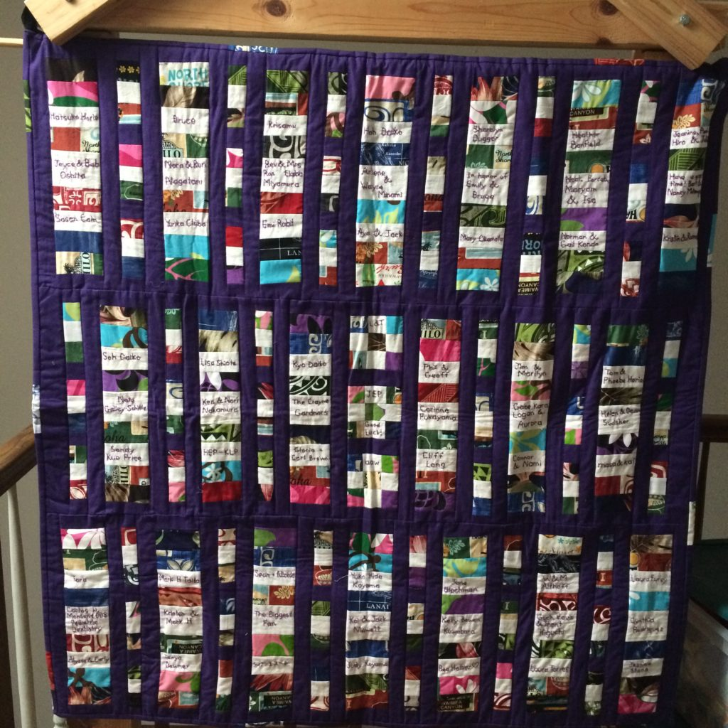 Quilt showing names and messages from supporters of Nen Daiko, 2017