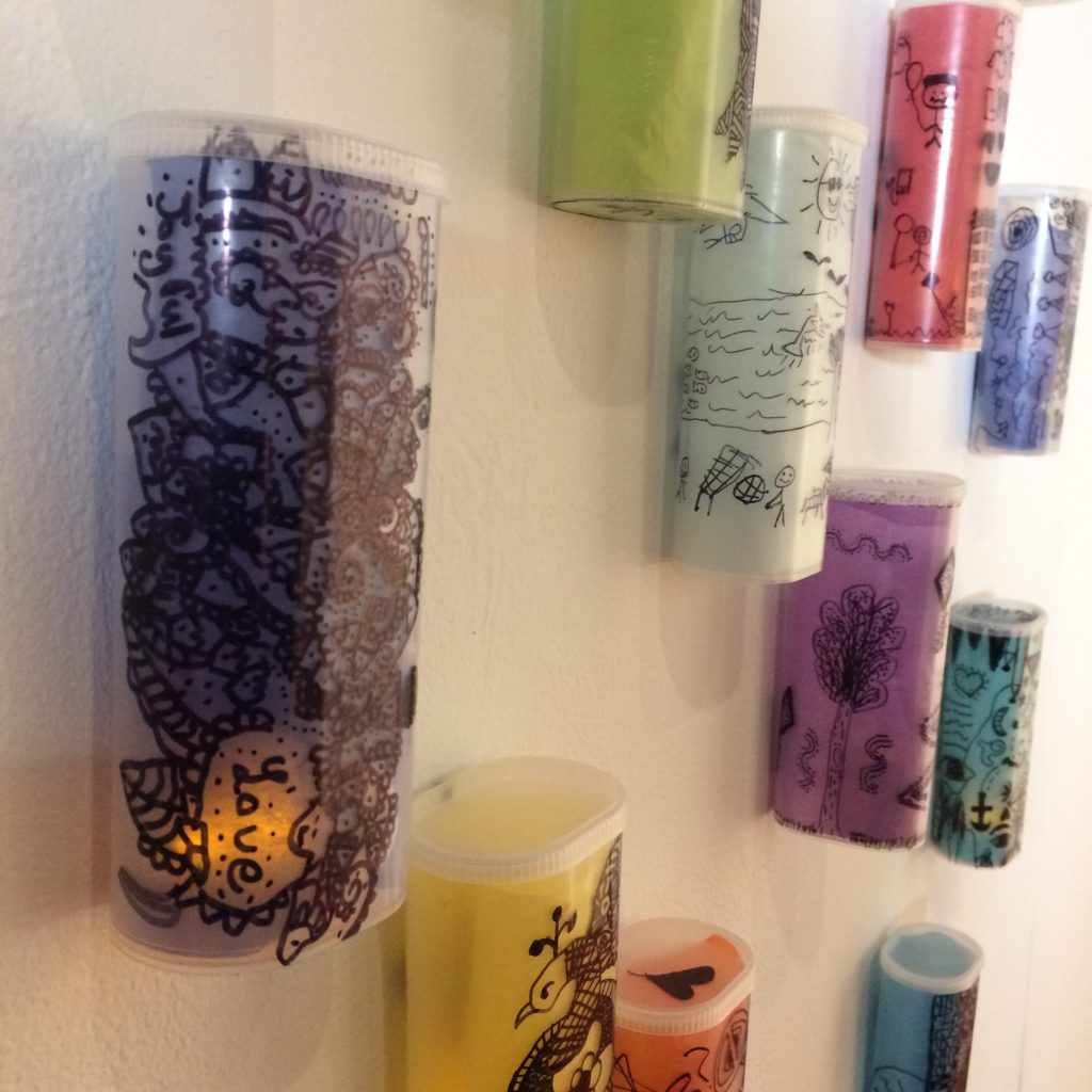 """Lanterns"" from recycled Crystal Light Containers and Tissue Paper Inspired by Paul Klee - designed by Trashmagination"
