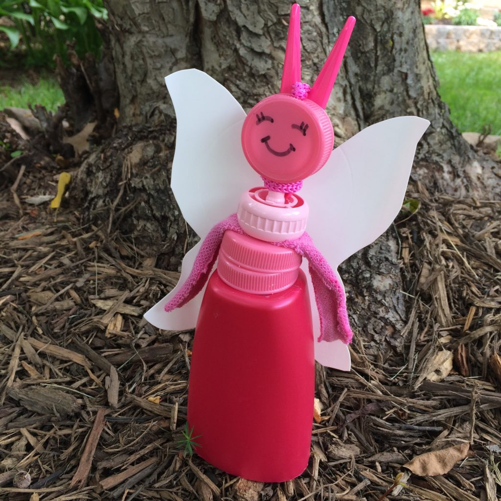 Fairy made from recycled pink plastic caps