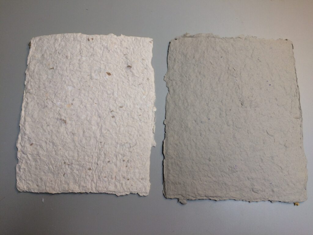 White and gray paper made from recycled pulp