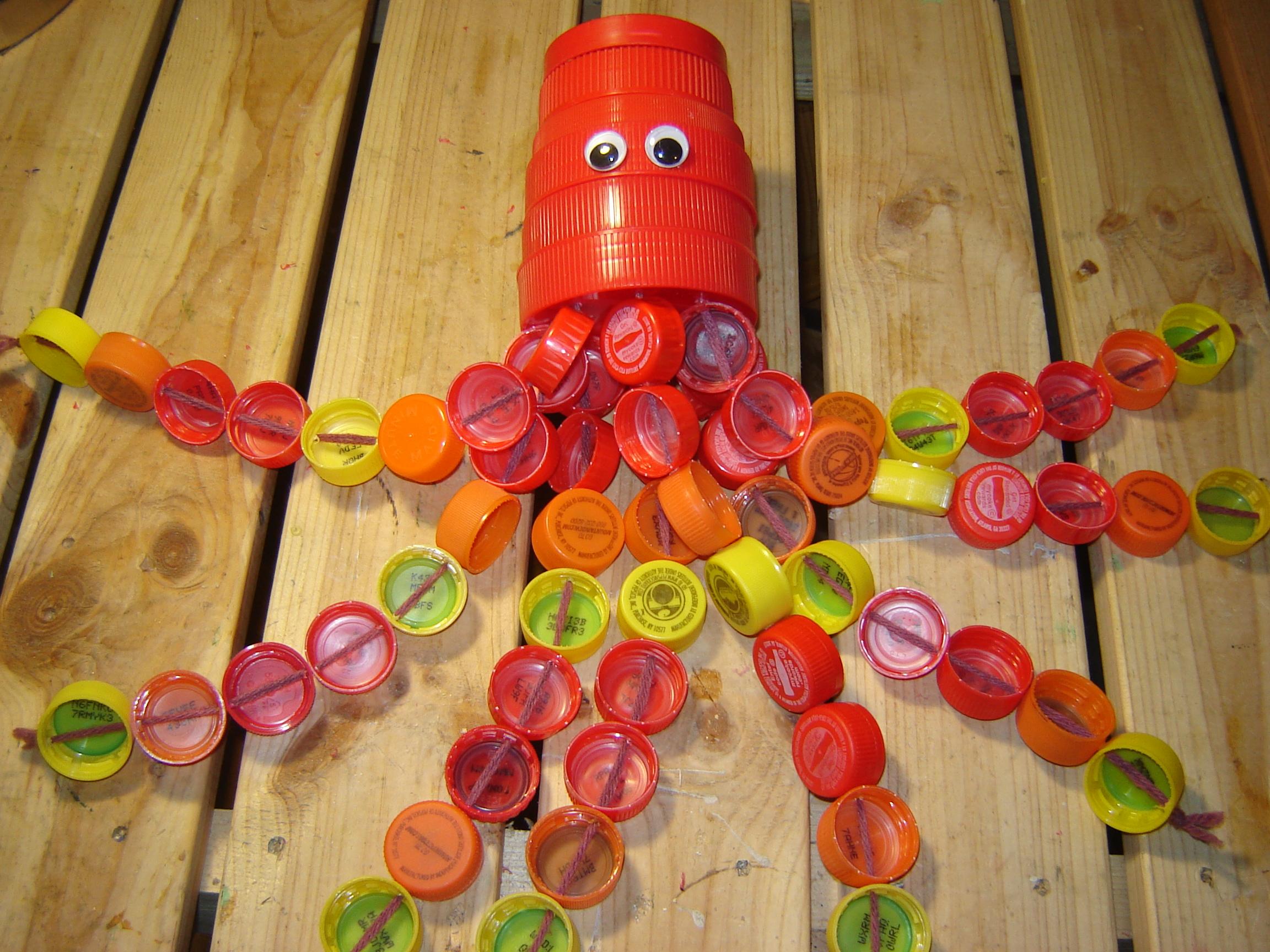 Plastic cap octopus or squid