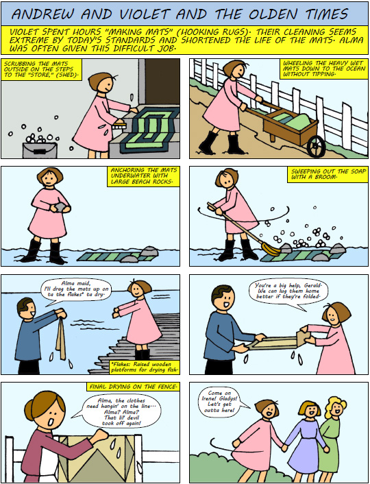 Cleaning Hooked Mats - a comic by Gloria Brown