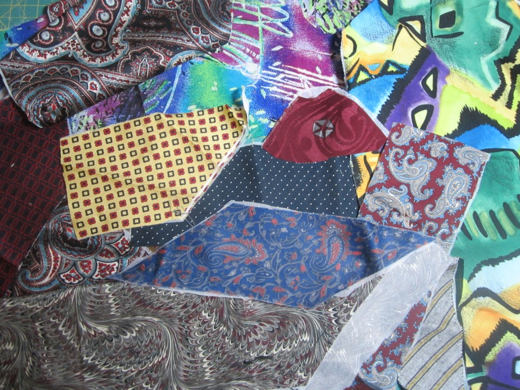 Men's ties prepared for crazy quilting