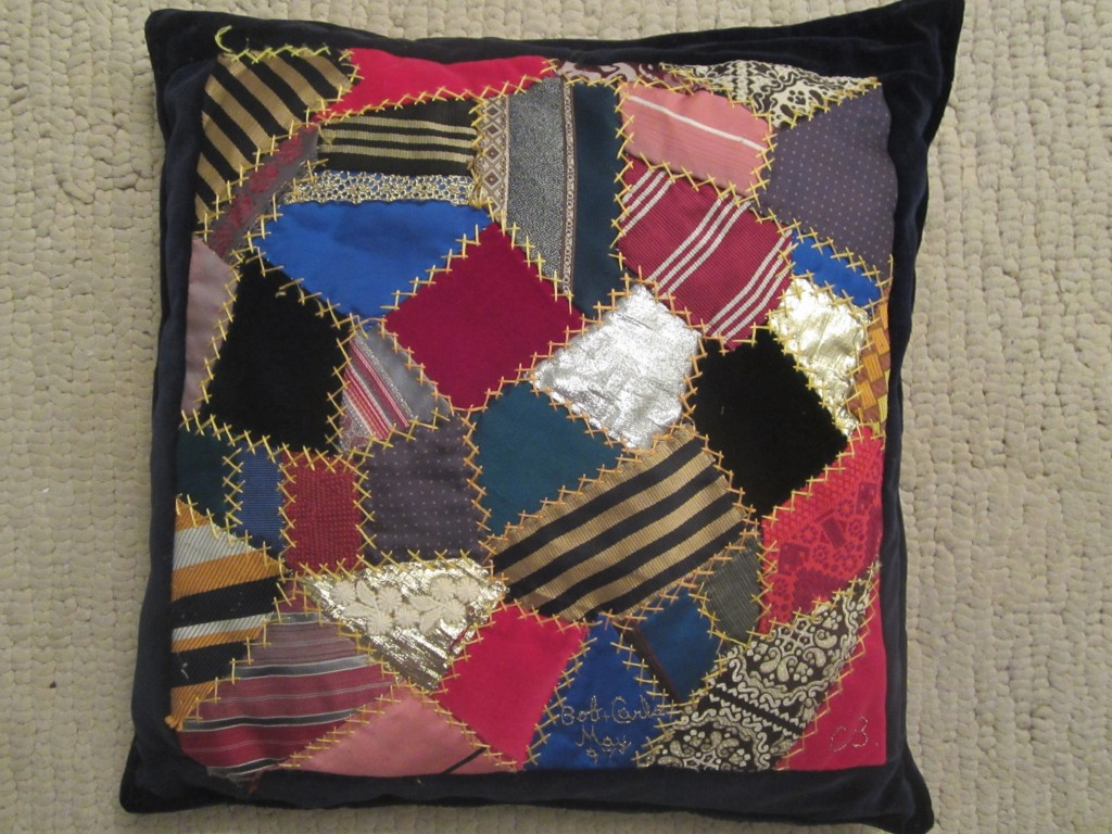 Crazy quilt made from men's ties by Connie Bowers