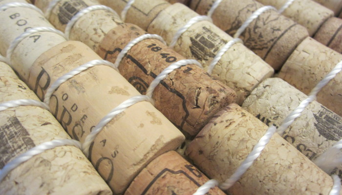 Wine cork bath mat - sewn with nylon twine