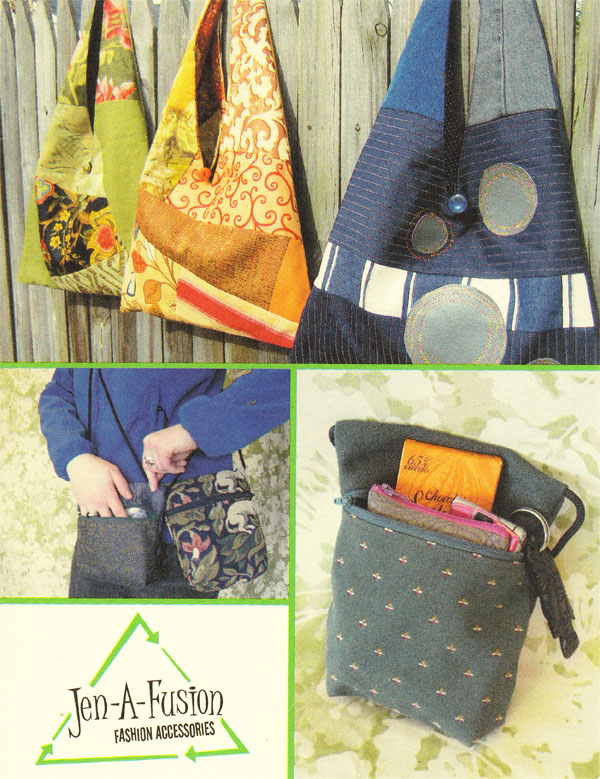 Jen-A-Fusion postcard, showing her signature triangle purse and small rectangle purse