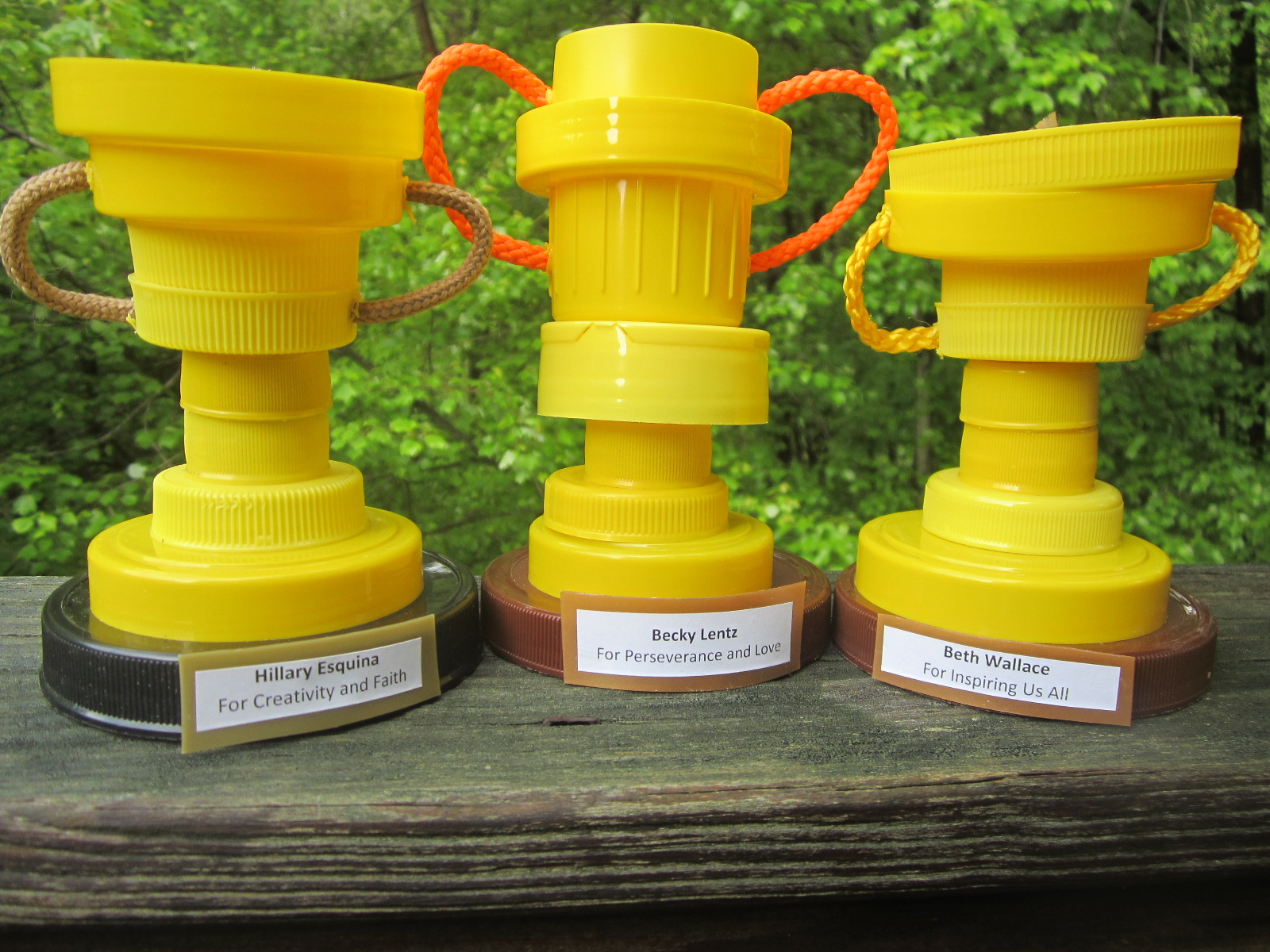 Plastic cap trophies