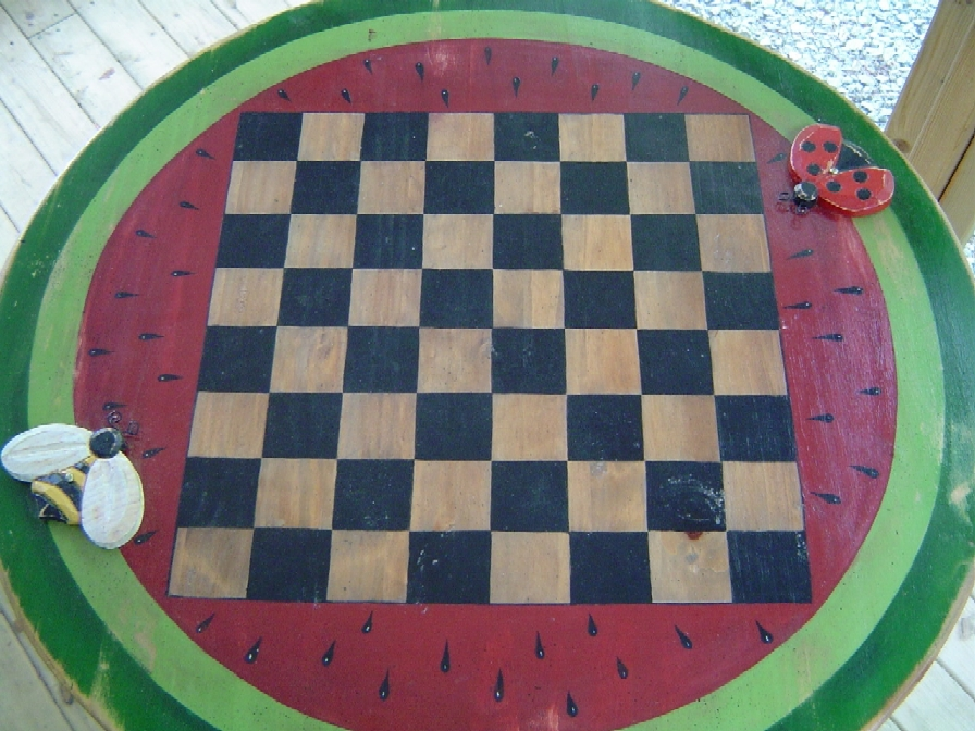 Checker board painted by Gloria Brown