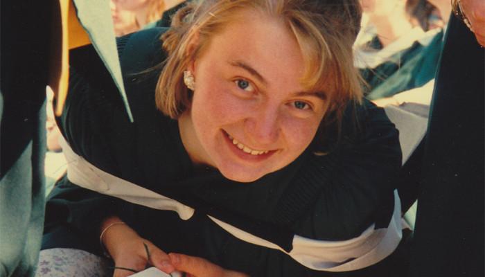 Graduating from Trent University, 1994