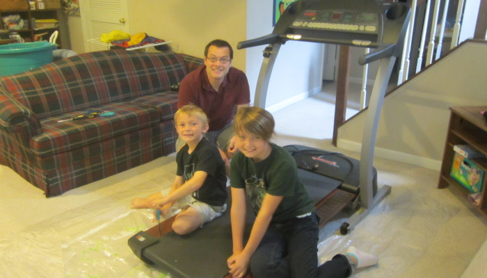 Taking apart our broken treadmill