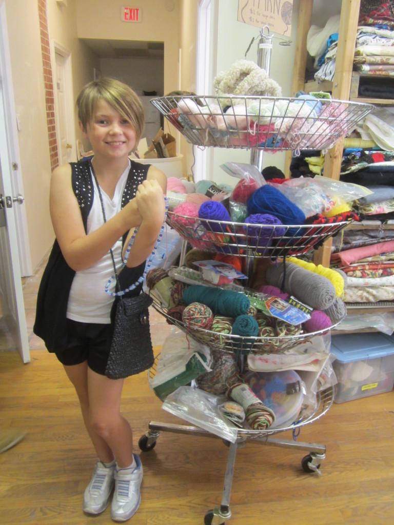 Nora with yarn display at ScrapDC