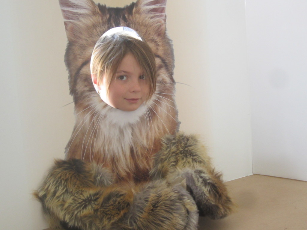 Nora as a cat, Purina booth, World Maker Faire