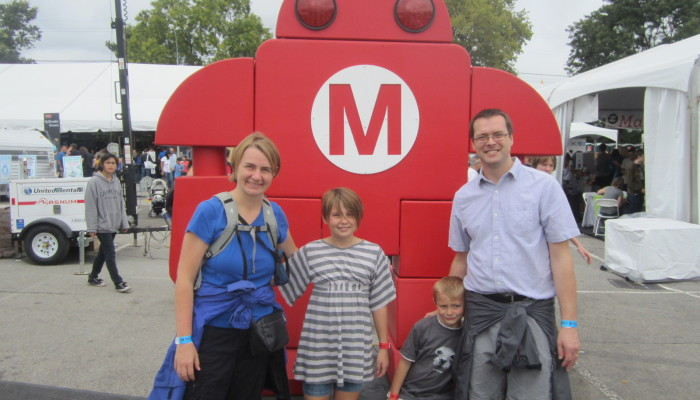 Happy family at World Maker Faire in New York City, September 21, 2013