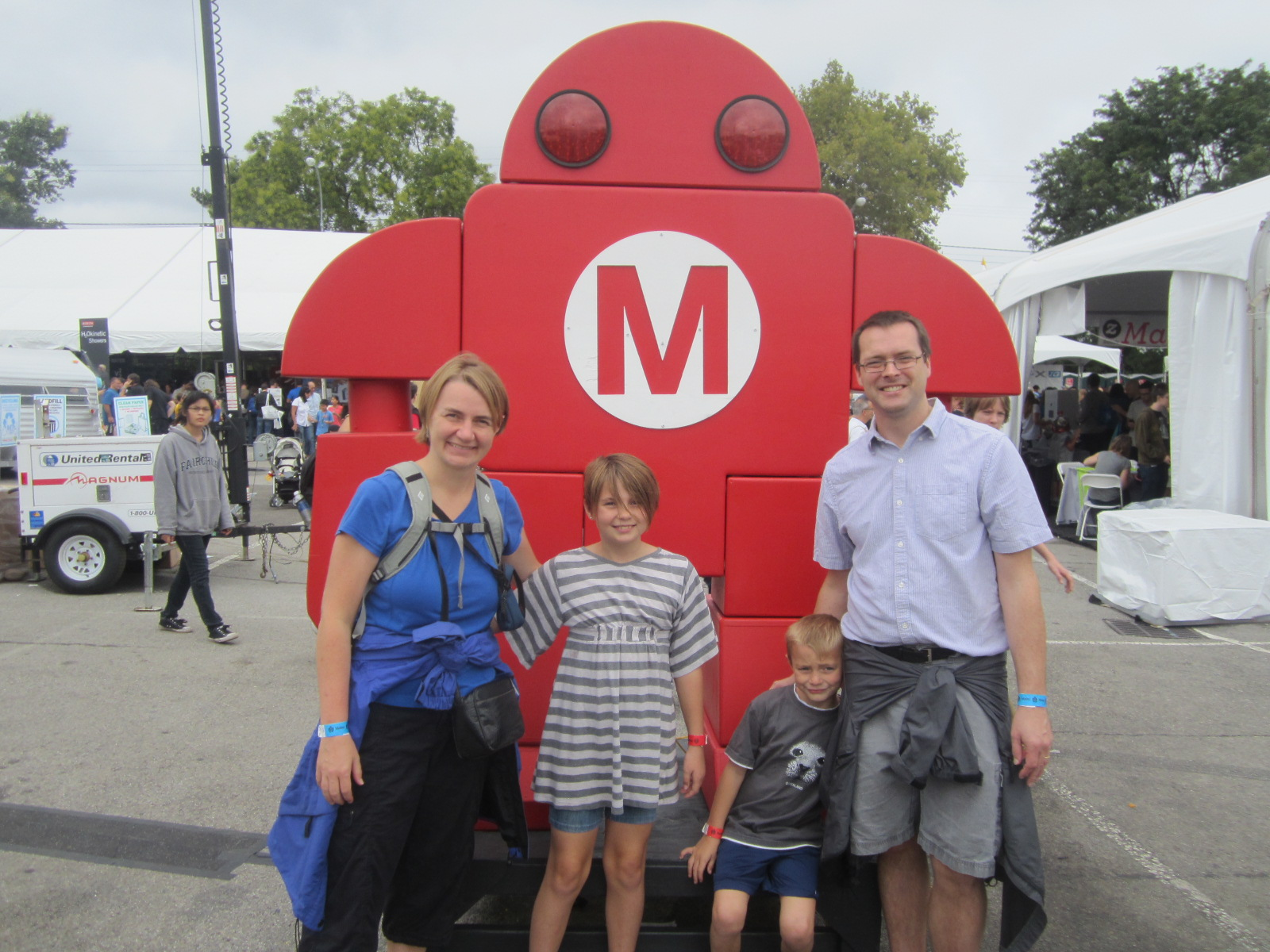 Happy family at World Maker Faire in New York City, September 21, 2013