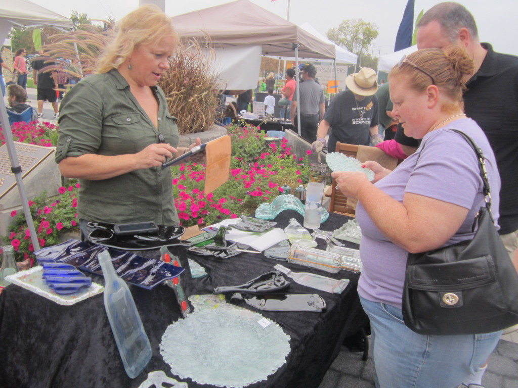 Linda Perry and her recycled glass art at the Columbus Maker Faire