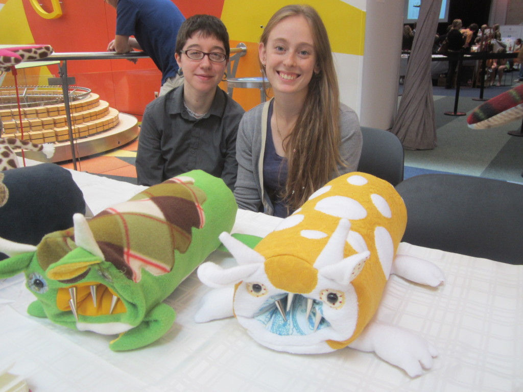 Tia Chrisenson and friend from Neckworm Handmade Monstrous Travel Pillows