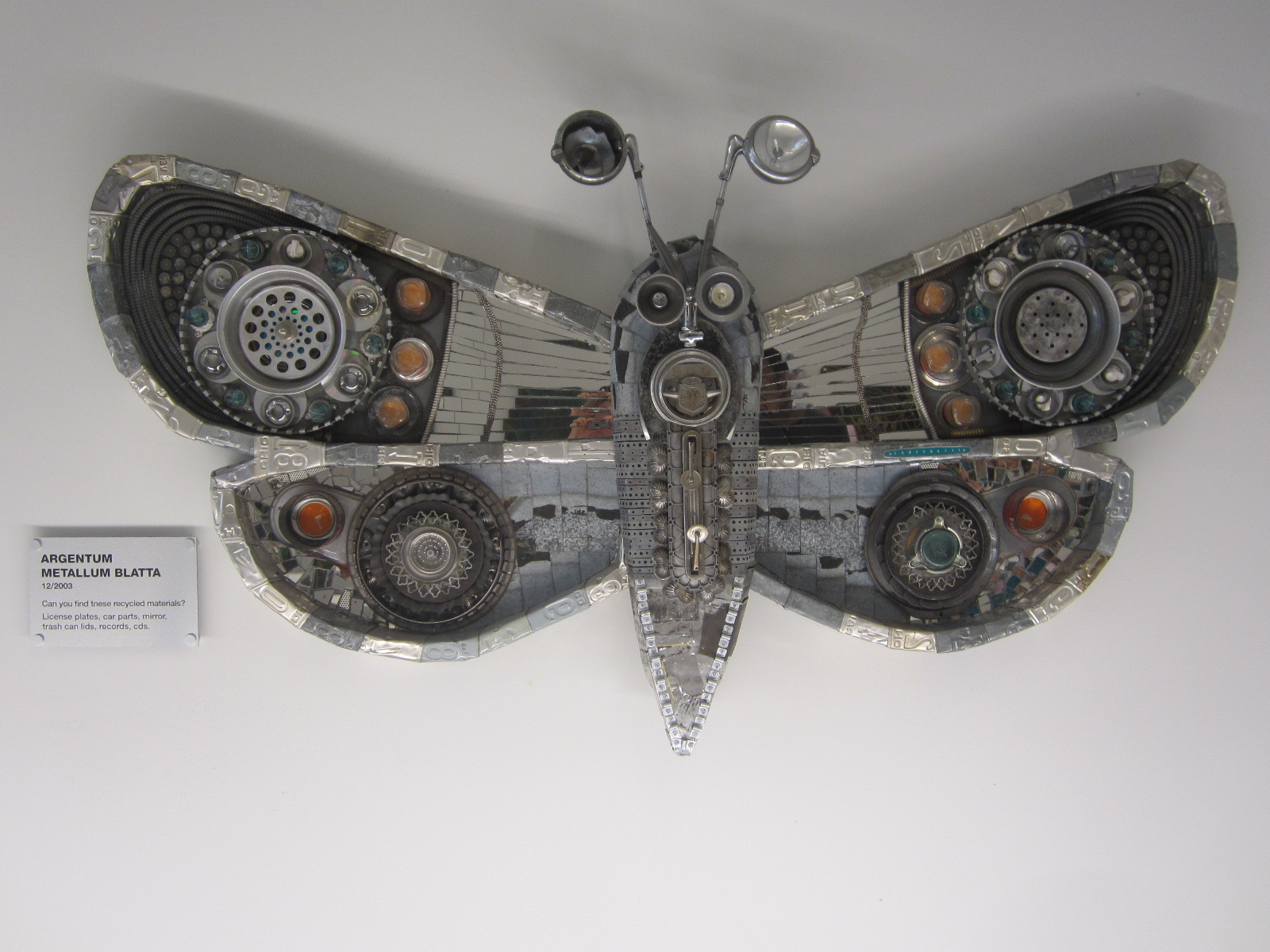 Argentum Metallum Blatta Moth sculpture by Michelle Stitzlein