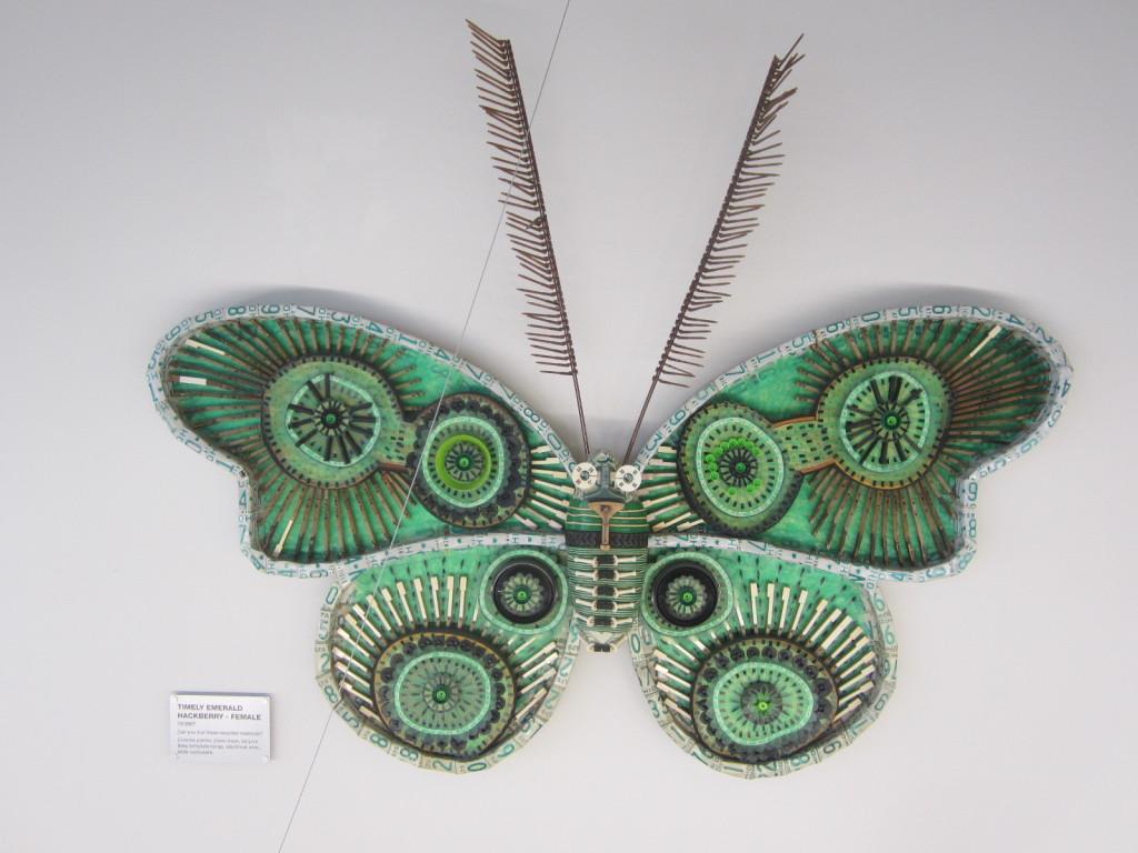 Timely Emerald Hackberry moth - female - sculpture by Michelle Stitzlein