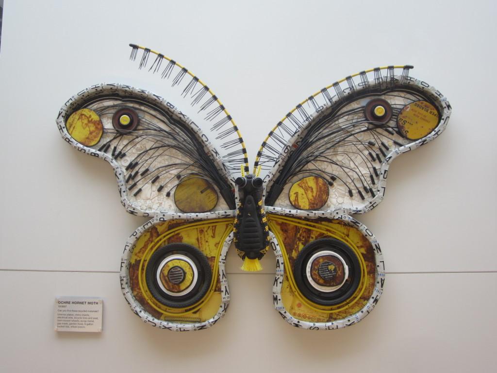 Ochre Hornet Moth sculpture by Michelle Stitzlein
