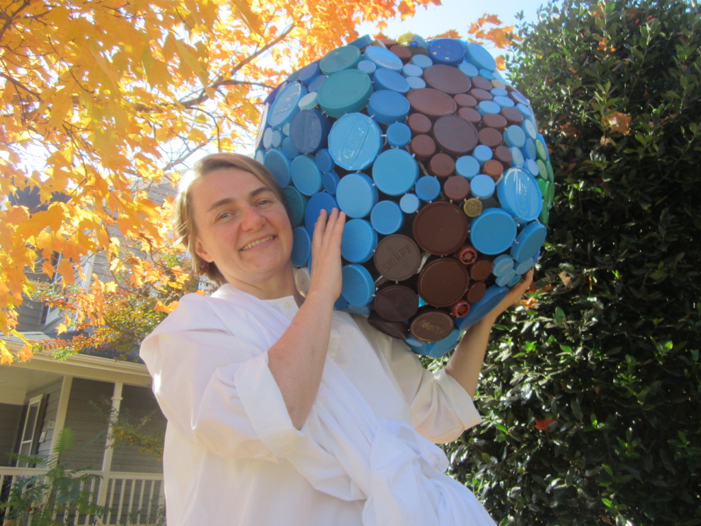 Dressed up as Atlas for Halloween with my plastic cap globe