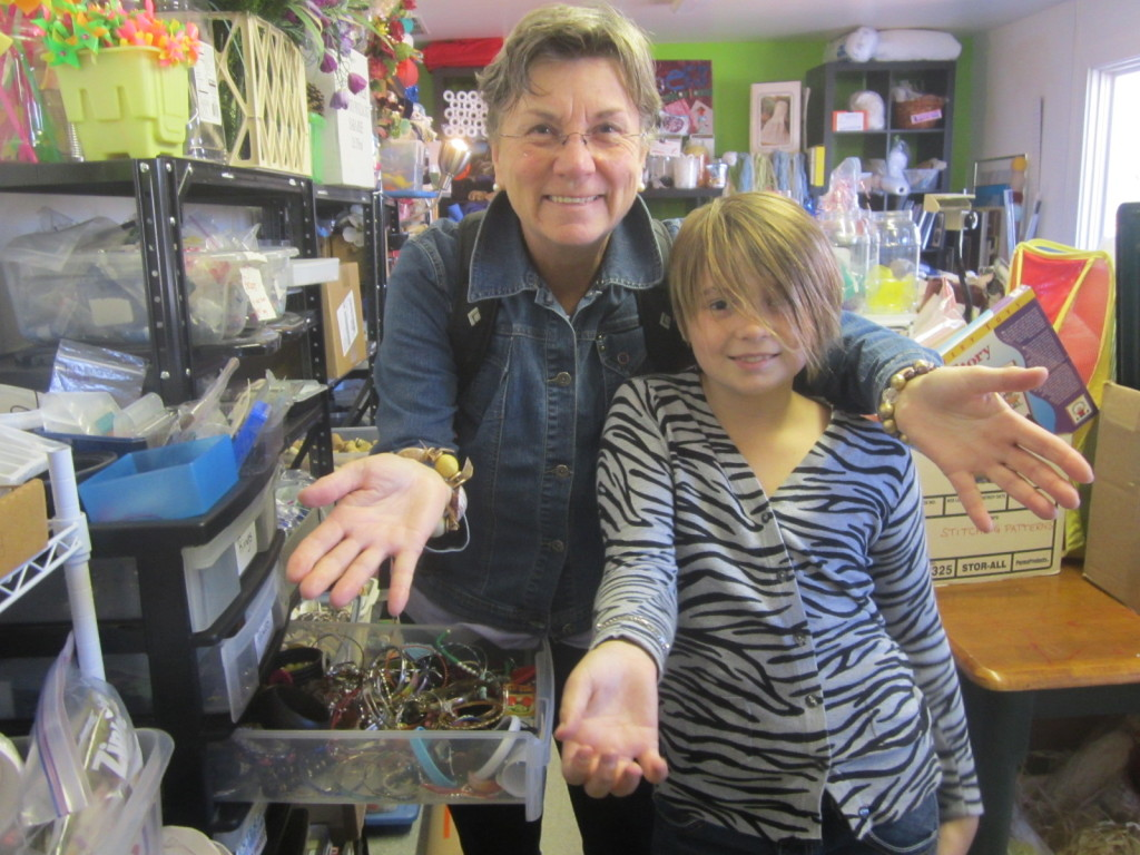 Mom & Nora love the jewelry section at Upcycle