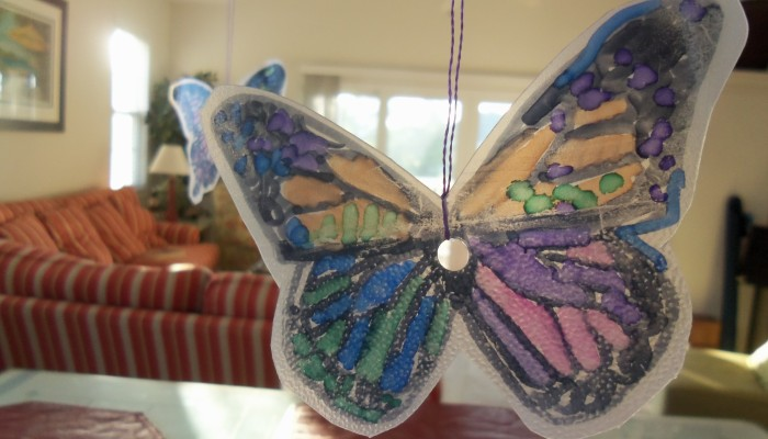 Butterfly made from a recycled plastic water jug