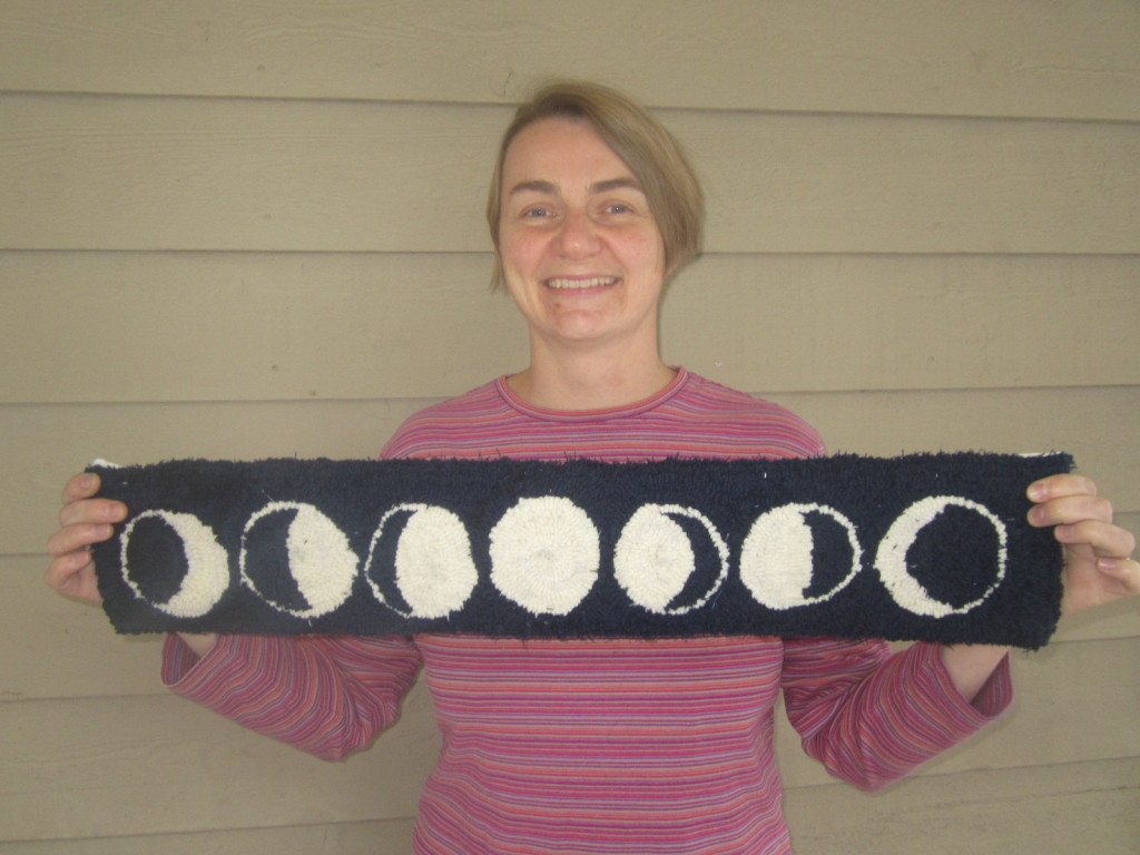 Phases of the Moon rug that I made for my dad