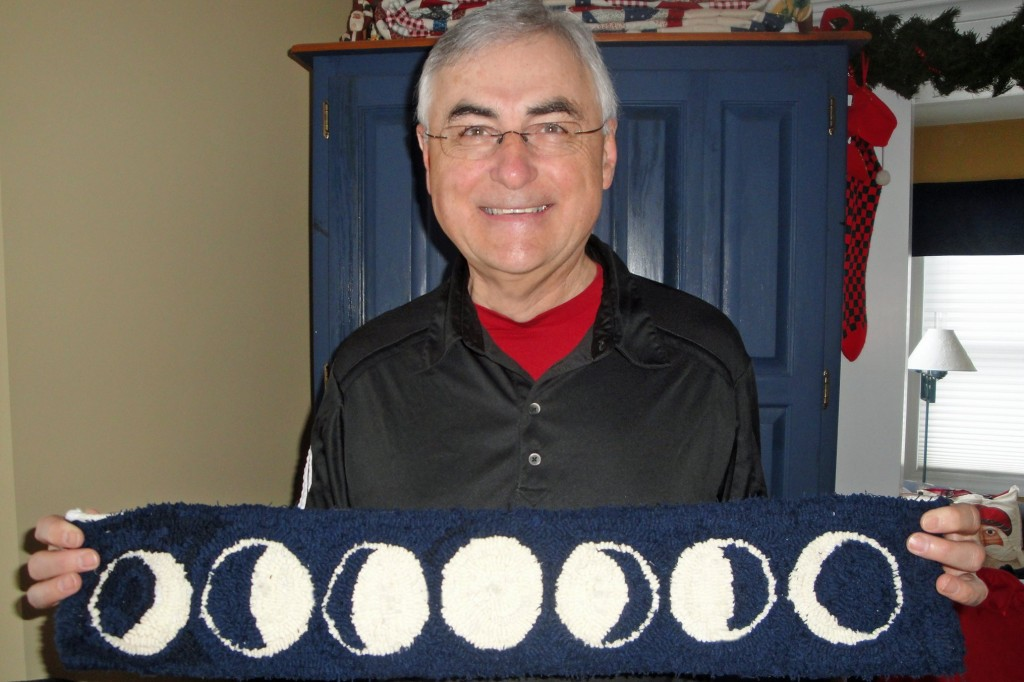 Dad with Phases of the Moon rug, Christmas 2013