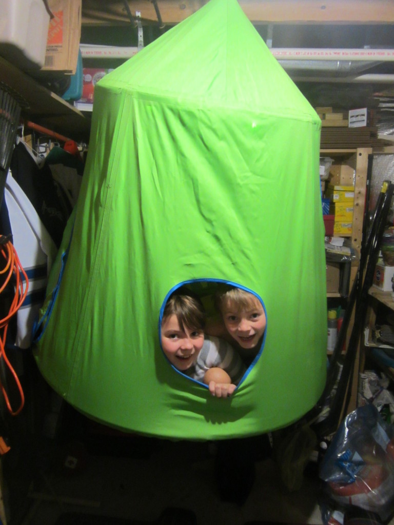 Kids in the Huggle Pod in the Laundry Room