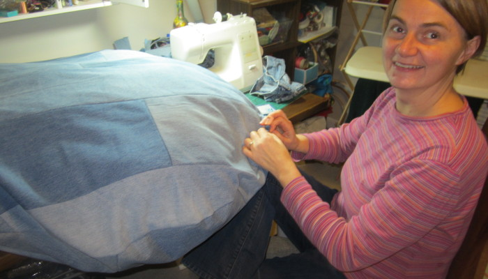 Sewing up our cushion