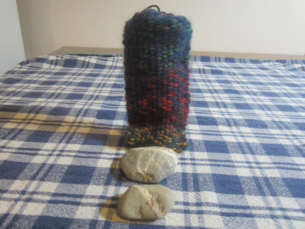 Wavemaker's woven body and some of the PEI rocks that went inside