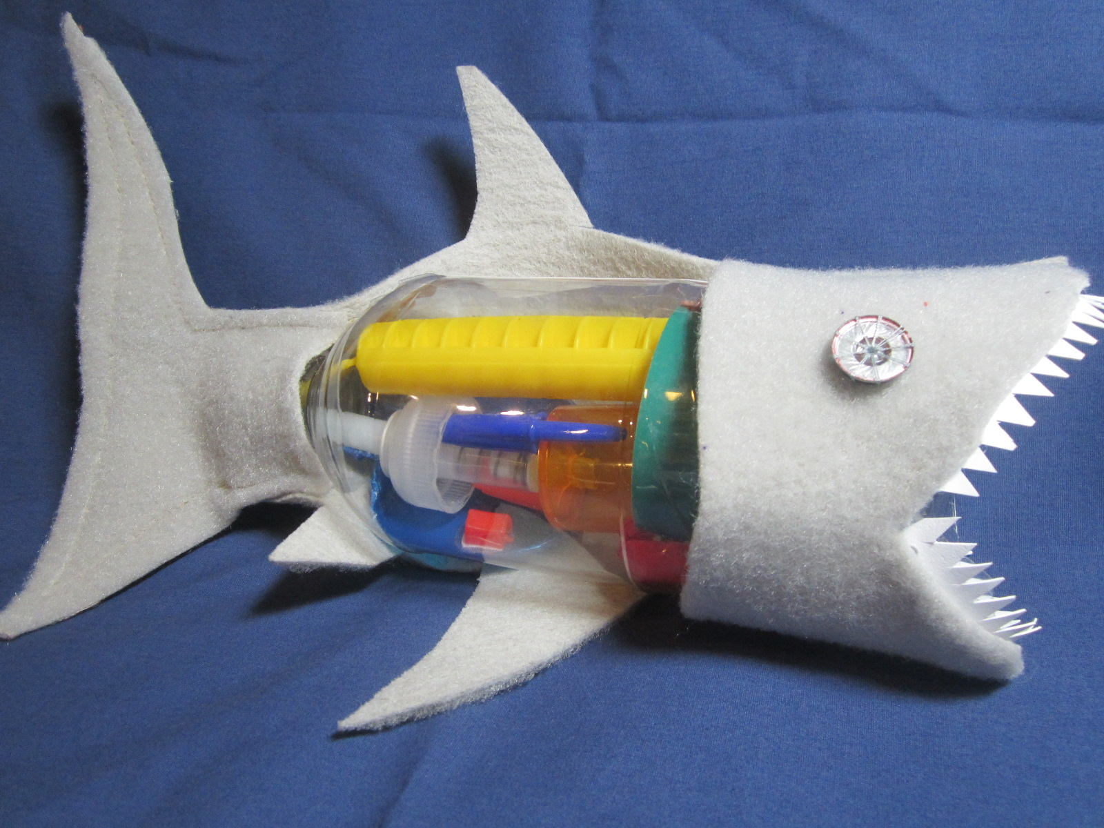 Shark anatomy model made from trash